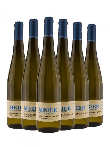 6 Flaschen Georg Meier Chardonnay trocken Roschbach Barrique
